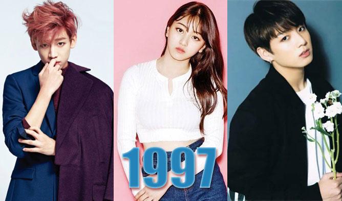 kpop idols, kpop, 1997 kpop idols, oh my girl birthdays, lovelyz birthdays, seventeen birthdays, ikon birthdays, twice birthdays, got7 birthdays, gfriend birthdays