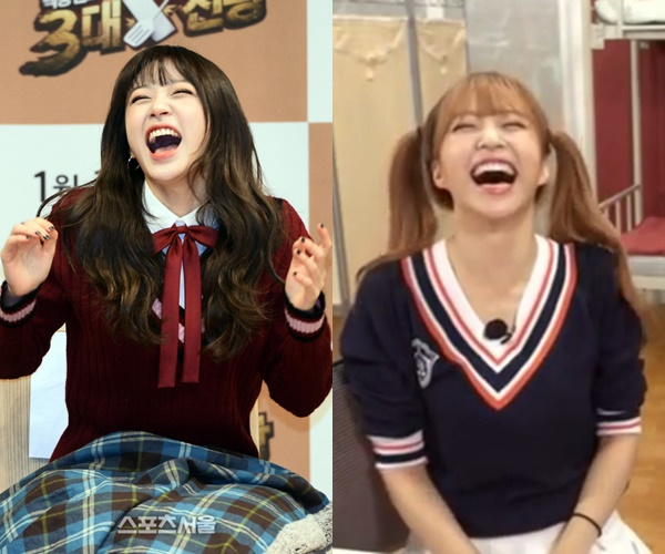 kpop idols laughing, kpop idols laugh, kpop laughing, happy laughing, laughing, hani laughing