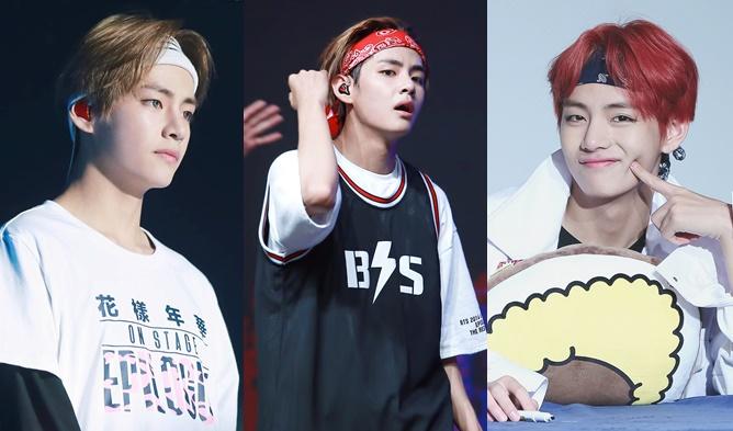 kpop idols headband, kpop headbands, kpop idols wearing headbands, bts v headband