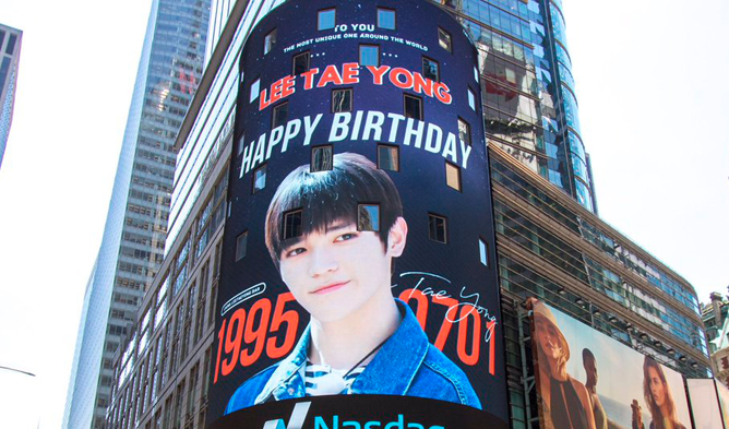 nct, taeyong, nct taeyong ad, nct taeyong birthday, nct taeyong new york times square, new york times square, new york times square kpop ad