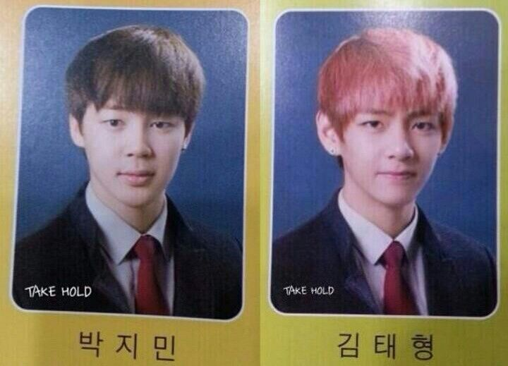 bts jimin, bts v, jimin, v, bts high school, bts high school graduates, kpop idols graduates, kpop idols high school