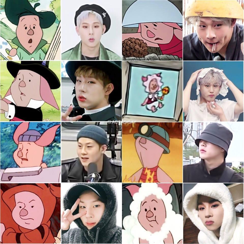 monsta x, monsta x profile, JooHeon Piglet, shownu pooh, monsta x winnie the pooh, monsta x funny
