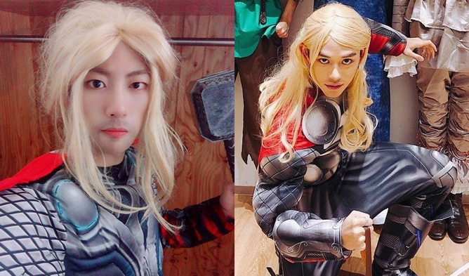 Thor, thor idol, thor halloween, lucas thor, nct lucas, thor jibeom, jibeom golden child, golden child halloween 2018, nct halloween 2018