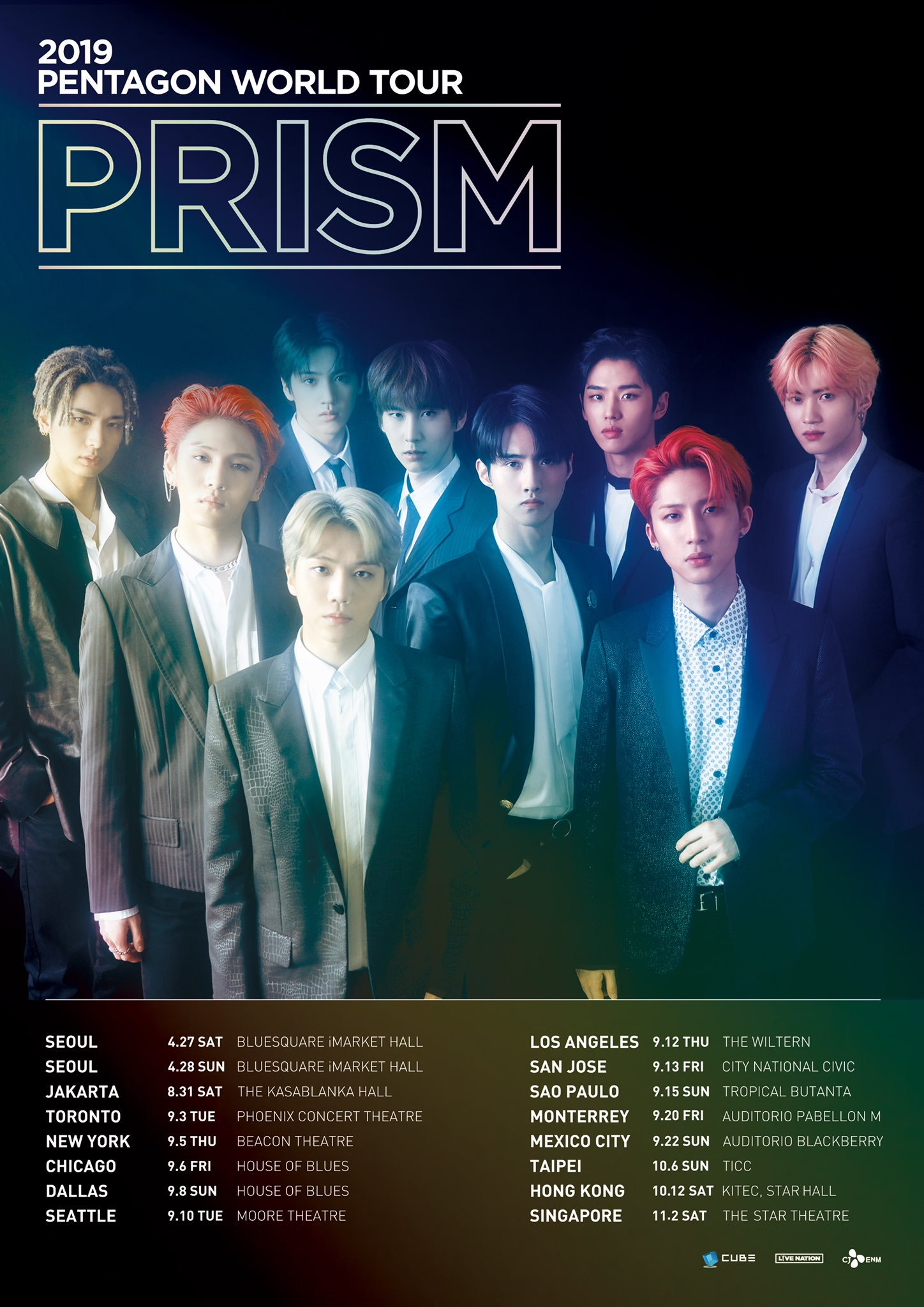pentagon, pentagon world tour, pentagon 2019, pentagon profile, pentagon leader, pentagon age, pentagon height, pentagon maknae, pentagon prism