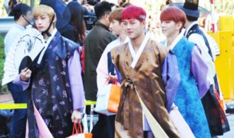 150918 Music Bank : Monsta X Dressed Up in Korean Traditional Hanbok