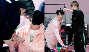 ASTRO's Cha EunWoo And MONSTA X's MinHyuk Are Helping Out Each Other With Band Aids At 'ISAC 2019' Seollal