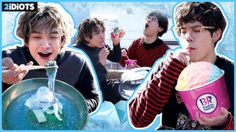 [ENG SUB] 2idiots - ICE FOOD CHALLENGE! Eating Cold Noodles + Ice Cream in -5C degree!!