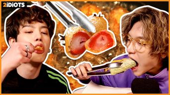 [ENG SUB] 2idiots - TRY TO FRY EVERYTHING they can! How does Fried Strawberry taste like?!