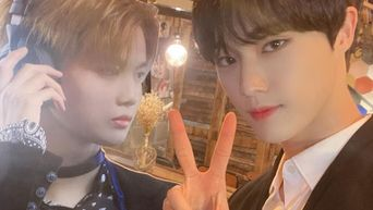 CIX's HyunSuk Snaps A Photo With Life Size Bae JinYoung Standee