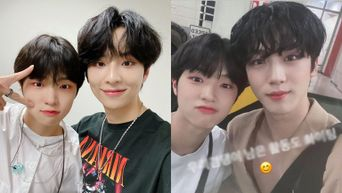 MIRAE's Son DongPyo Takes Photos With Participants From 'Produce X 101' At Backstage Of Music Shows