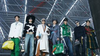 BTS' Hyung Jin Stuns As The Showstopper Of The Louis Vuitton Fall/Winter 2021 Collection