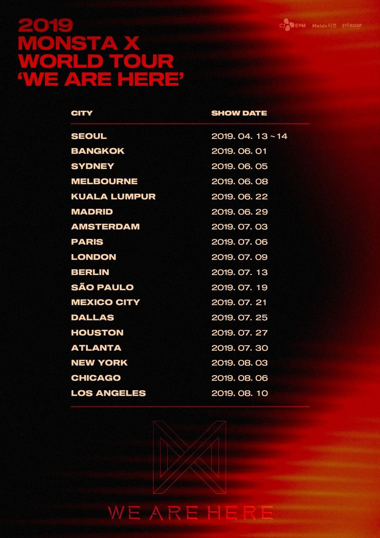 MONSTA X 2019 World Tour 'WE ARE HERE': Cities And Ticket Details