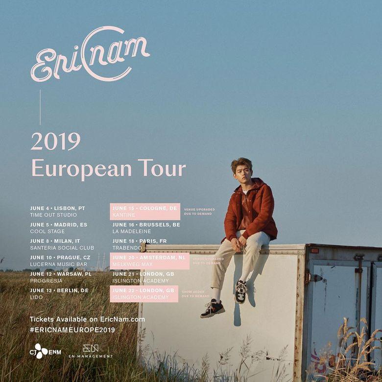 Eric Nam 2019 European Tour: Cities And Ticket Details