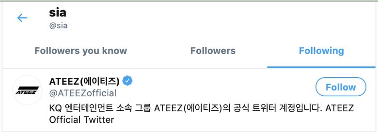 Sia Is Following ATEEZ On Twitter