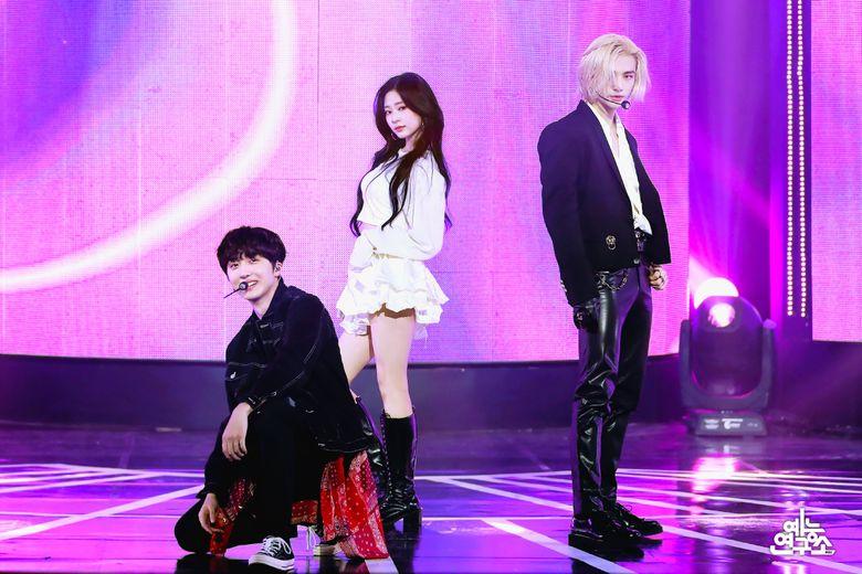 "Still Cuts Of ""Music Core"" MCs, IZ*ONE's MinJu, SF9's Chani And Stray Kids' HyunJin Amaze Fans"