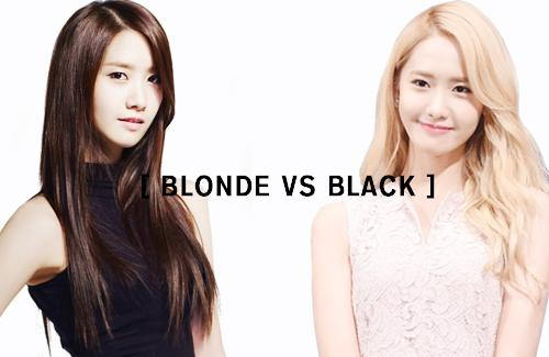 yoona blonde, yoona black, snsd blonde, jessica blonde, idol blonde, idol black hair, blonde, black hair, korean hair style
